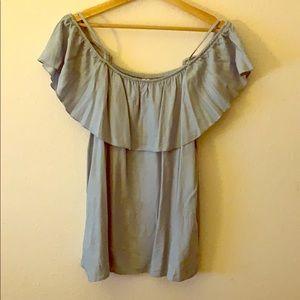Light blue off the shoulder blouse-XL